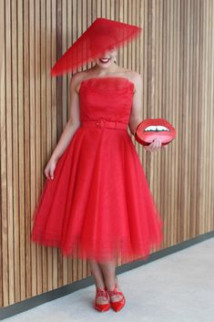 Design: Two Sewing Sisters original Pattern: Drafted by Lauren Fabric: Red Tulle and cotton drill from Spotlight Mayfair Hat: Lauren J Ritchie Self covered belt: Buttonmania Shoes: Wittner Oaks Day, Spring Racing Carnival, Tulle Dress, Spotlight, Outfit Of The Day, Drill, Retro Vintage, Sisters, Vogue