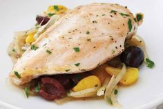 Chicken with Olives, Tomatoes & Onions from Joy of Kosher - use 2 pounds chicken to serve 8, and sub extra broth for the white wine in this flavorful main dish.