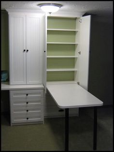 Would be awesome for craft/laundry room. Leave space in shelving to stow sewing machine. love it.
