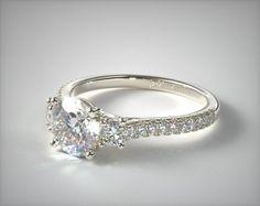 51013 engagement rings, three stone, platinum three stone micro pave diamond engagement ring item - Mobile
