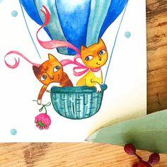 Happy Friday Friends! . . . . . . . . #fridayfun #drawingdaily #daily__art #illustration_best #moreillustrations #catslove #catslovers #hotairballoon #aquarela #aquarell #watercolorart #watercolourartist #catperson #characterart #cardmaking #lovecat #dontshopadopt #bayareaart #bayareamom #creativemom #creativelife #creativelifehappylife #иллюстрация #акварель #arttherapy #artnow #justdraw #learntodraw #flatlayfriday