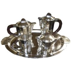 Barker Brothers English High Style Art Deco Silver Tea Set England, 1930s