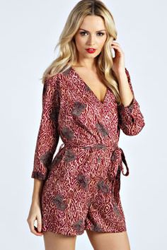 5edeaf54fd32 Bethany Paisley Swirl Wrap Over Playsuit Cheap Playsuits