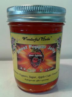 Ghost Pepper Jelly - Discover the secret ingredient to those deliciously hot recipes. Yes, it's hot, and it's oh so good. Ghost Pepper Jelly Recipe, Pepper Jelly Recipes, Ghost Peppers, Ham Glaze, Pork Roast, Baked Chicken, Pepper Ideas, Cooking Recipes, Jar