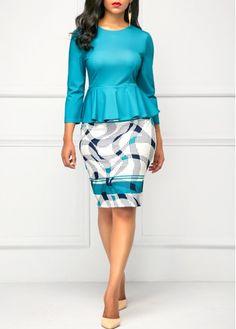 Printed Peplum Waist Round Neck Peacock Blue Dress | Rosewe.com - USD $33.08