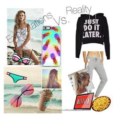 """""""Summer expectations vs. reality"""" by skylarpeavy ❤ liked on Polyvore featuring Matthew Williamson, MANGO and Forever 21"""