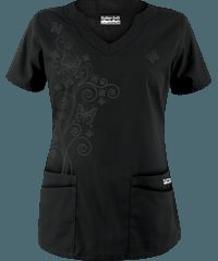 Butter-Soft Scrubs by UA  Women's Scallop Neck Top with Butterfly Embroidery