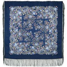 Платки 89х89 : Мария 737-14, павлопосадский платок шерстяной с шелковой бахромой
