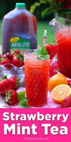 Strawberry Iced Tea made by the pitcher with fresh strawberries, mint, lemons and Milo's Famous Iced Tea is the perfect summer drink recipe! Spike it with vodka for a refreshing cocktail.