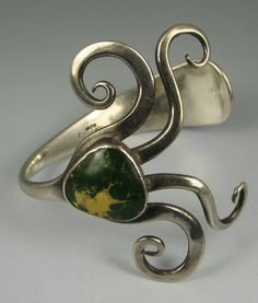 Vntg Artisan Turquoise Sterling Flatwear Fork Bracelet