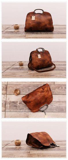 Handmade Natural Leather Messenger Bag Handbag Shoulder Bag Small Satchel Women's Fashion Bag Leather Cross Body Bag WF51 Overview: Design: Vintage Vegetable Tanned Leather Handbag In Stock: 3-5 days