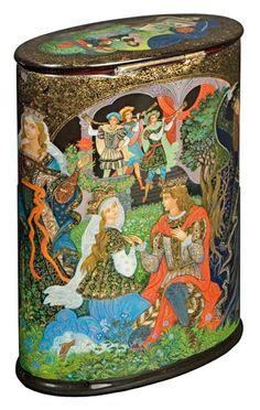 "Vera Smirnova ""Scarlet flower"" Palekh | The Inna Kaufman Gallery| Russian Lacquer Miniature Art"