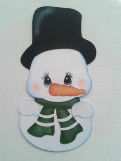CHRISTMAS WINTER SNOW MAN WITH TOP HAT PAPER PIECING BY MY TEAR BEARS