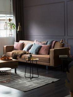 Kleur van de week: Dark Powder – My Industrial Interior Living Room Inspiration, Interior Inspiration, Luxury Furniture, Home Furniture, Brown Leather Couch Living Room, Tadelakt, Brown Interior, Industrial Interiors, Home And Living
