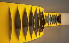Yellow Parametric Wall Design
