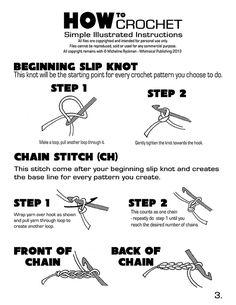 How to Crochet -Perfecto con tutorial grafico de cadena, simple crochet, doble crochet etc CONSULTAR