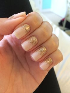 Mixed metals glitter waterfall nails, nude gel