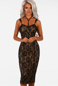 3d5fa5cf6d787 Enrapture Black Lace Harness Bodycon Midi Dress   Pink Boutique Black Lace Midi  Dress, Pink. Pink Boutique UK