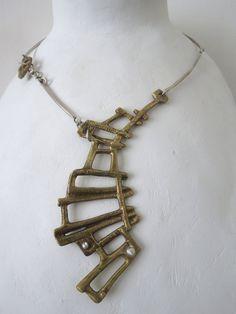 Collana in ottone e argento di Loreart74 su Etsy