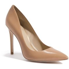 GUESS by Marciano Ada Pump ($91) ❤ liked on Polyvore featuring shoes, pumps, heels, sapatos, обувь, beige, beige pointy toe pumps, leather pumps, high heel pumps and pointy toe high heel pumps