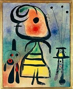 This is on of Joan Miró's more famous pices. To me it looks like a little boy standing in  a room with  table and vase with flowers and on the other side of him is a little teddy bear