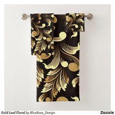 Gold Leaf Floral Bath Towel Set Bath Towel Sets, Bath Towels, Holiday Cards, Christmas Cards, Floral Bath, Christmas Card Holders, Gold Leaf, Keep It Cleaner, Colorful Backgrounds