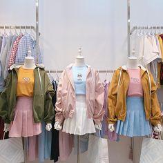 combination with skirt Kawaii Fashion, Cute Fashion, Look Fashion, Girl Fashion, Fashion Outfits, Fashion Design, Kpop Outfits, Korean Outfits, Casual Outfits