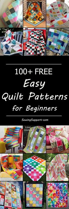~ Over 100   easy quilt patterns and tutorials for beginners. Many quick and simple diy ideas (including baby quilts).