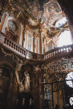 The Asamkirche (officially the St-Johann-Nepomuk-Kirche) in Munich is an 18th-century Baroque and Rococo church built by the Asam brothers. The opulent interior leaves no surface undecorated.