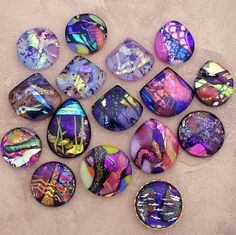 Dichroic Glass cabochons I make and sell.