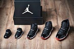 Jordan 11 for the whole family Air Jordan 11 Bred, Nike Air Jordan 11, Jordan 23, Baby Sneakers, All Black Sneakers, Shoes Sneakers, Jordans For Sale, Air Jordans, Nike Kobe Bryant
