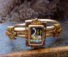 1879 Micro Mosaic Swan Bracelet Spring on Etsy