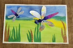 that artist woman: Dragonflies Watercolour Kids Painting Projects, Spring Art Projects, Arts And Crafts Projects, Dragonfly Art, Butterfly Art, Butterflies, Classroom Art Projects, Art Classroom, 2nd Grade Art
