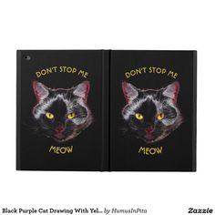 Black Purple Cat Drawing With Yellow Eyes Powis iPad Air 2 Case