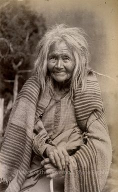 """Oldest woman on Mescalero Apache Reservation"", New MexicoPhotographer: J.R. RiddleDate: 1886 - 1888?Negative Number 076161"