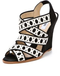 Moschino Wedge Sandals in White (black) - Lyst