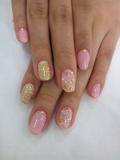 Nails, Nail Art, Nail Design, Manicure, Gel, Glitter, Rhinestones, Studs, Gold, Pink, Short Oval Nails