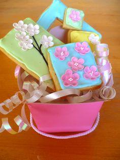 Cherry Blossom cookies (fondant flowers on iced sugar cookies)
