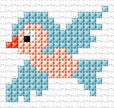 Bird Crafts with beads Bird Tiny Cross Stitch, Baby Cross Stitch Patterns, Cross Stitch Bookmarks, Cross Stitch Cards, Cross Stitch Animals, Cross Stitch Designs, Cross Stitching, Cross Stitch Embroidery, Embroidery Patterns
