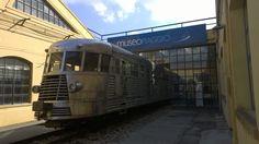 Een trein ontworpen door Piaggio