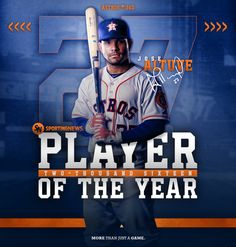 360 image created to announce Jose Altuve winning the 2016 Sporting News Player of the Year award. Sports Advertising, Sports Marketing, Banner Instagram, Sports Graphic Design, Sport Design, Men Design, Design Concepts, Banners, Identity