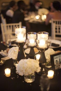 Back and White Candle Centerpieces | Sarah Bray Photography | TheKnot.com
