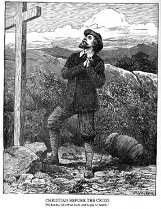Cristiano ante la Cruz  -Bunyan's Pilgrim's Progress, With Over One Hundred Illustrations Designed by Frederick Barnard and Others, Engraved by Dalziel Borthers (The John C. Winston Company, Philadelphia, Chicago, and Toronto, 1894
