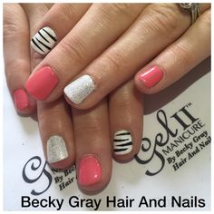 Gel II manicure early morning and Arctic white with nail art hand painted stripes and blossom and Lola magpie glitter