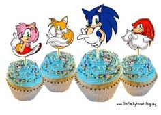 Follow link to FREE printable sonic cupcake toppers! Also a link to FREE printable coloring pages!