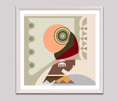 Black Woman Art, Black Woman Painting, African American Woman, African American Wall Art, Afro Pick, Adinkra symbols DUAFE, Nubian AVAILABLE @ $28