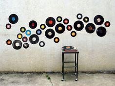 Decoración de pared con discos de vinilo #reciclaje
