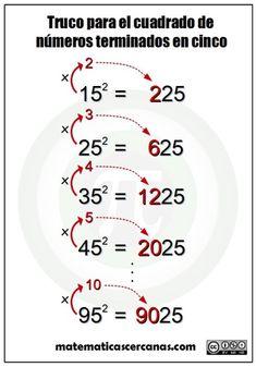 """Como dice el título de la entrada, vamos a ver un """"truco"""" para calcular el cuadrado de números terminados en cinco, como por ejemplo 252, 552… El truco no es más que una forma rápida de obtener el resultado sin necesidad de tener que realizar la multiplicación completa del número en cuestión por si mismo. ... Seguir leyendo..."""