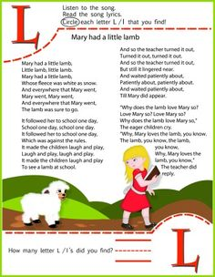 Circle The Letter L Worksheet Mary Had A Little Lamb Song for Kids