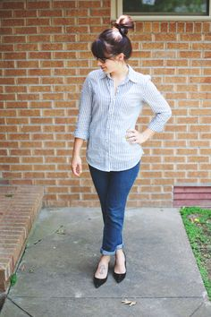 striped button down shirt, dark skinny jeans and black pumps. One of my favorite outfits!